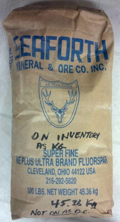 An original bag of Fluorspar