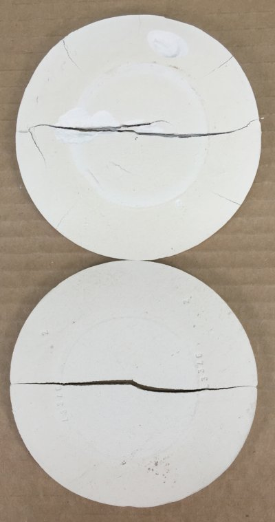 Same clay disk dried fast (heat gun) and slower (fan) for the DFAC test