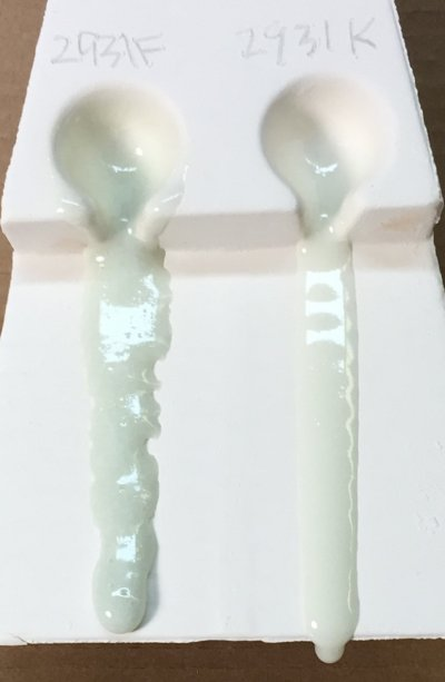 Glaze melt fluidity comparison between G2931F and fritted G2931K show the effect of LOI