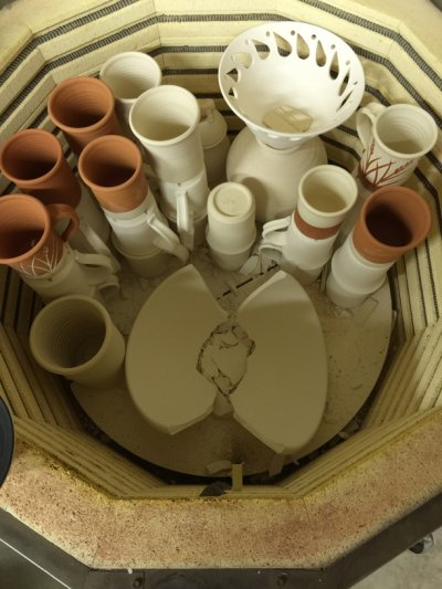 Put almost-dry ware into a kiln. This happens!