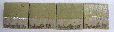 2, 5, 10, 15% dolomite added to Ravenscrag Slip at cone 10R