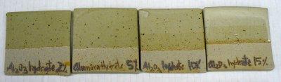 2, 5, 10 and 15% alumina hydrate added to Ravenscrag Slip