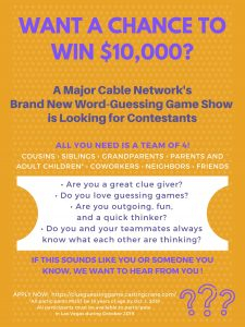 NEW GAMESHOW CASTING VEGAS LOCALS!! WIN $10,000!