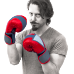 Board President, Bas, posing in a boxing stance with red and blue gloves