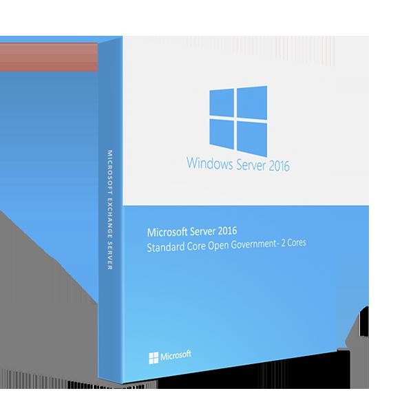 Microsoft Windows Server 2016 Standard Core Open Government - 2 Cores