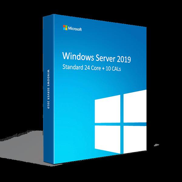 Windows Server 2019 Standard 24 Core + 10 CALs