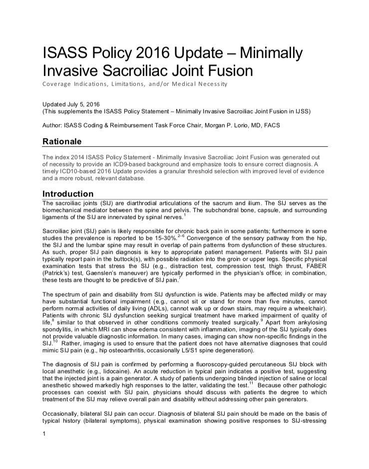 ISASS Policy 2016 Update – Minimally Invasive Sacroiliac Joint Fusion