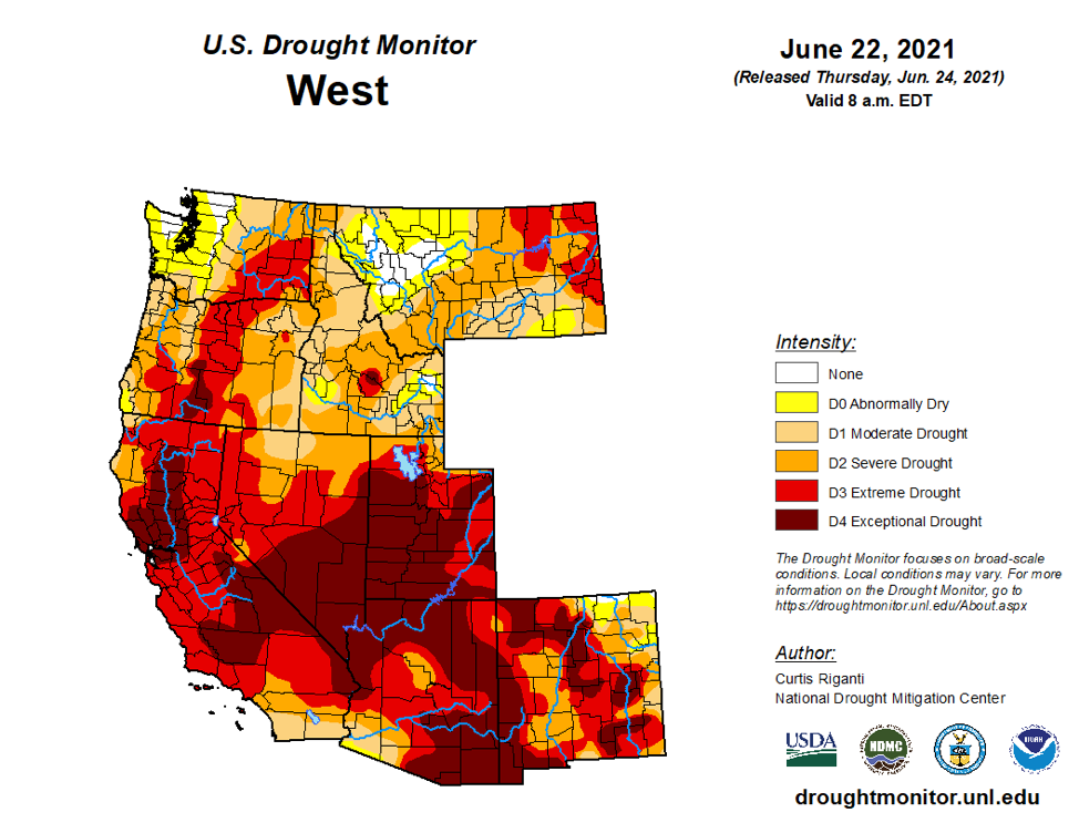 Drought Monitor in the West June 2021