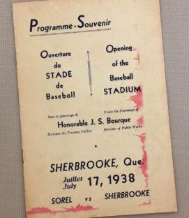 Sherbrooke 1938 Baseball Stadium Opening Program