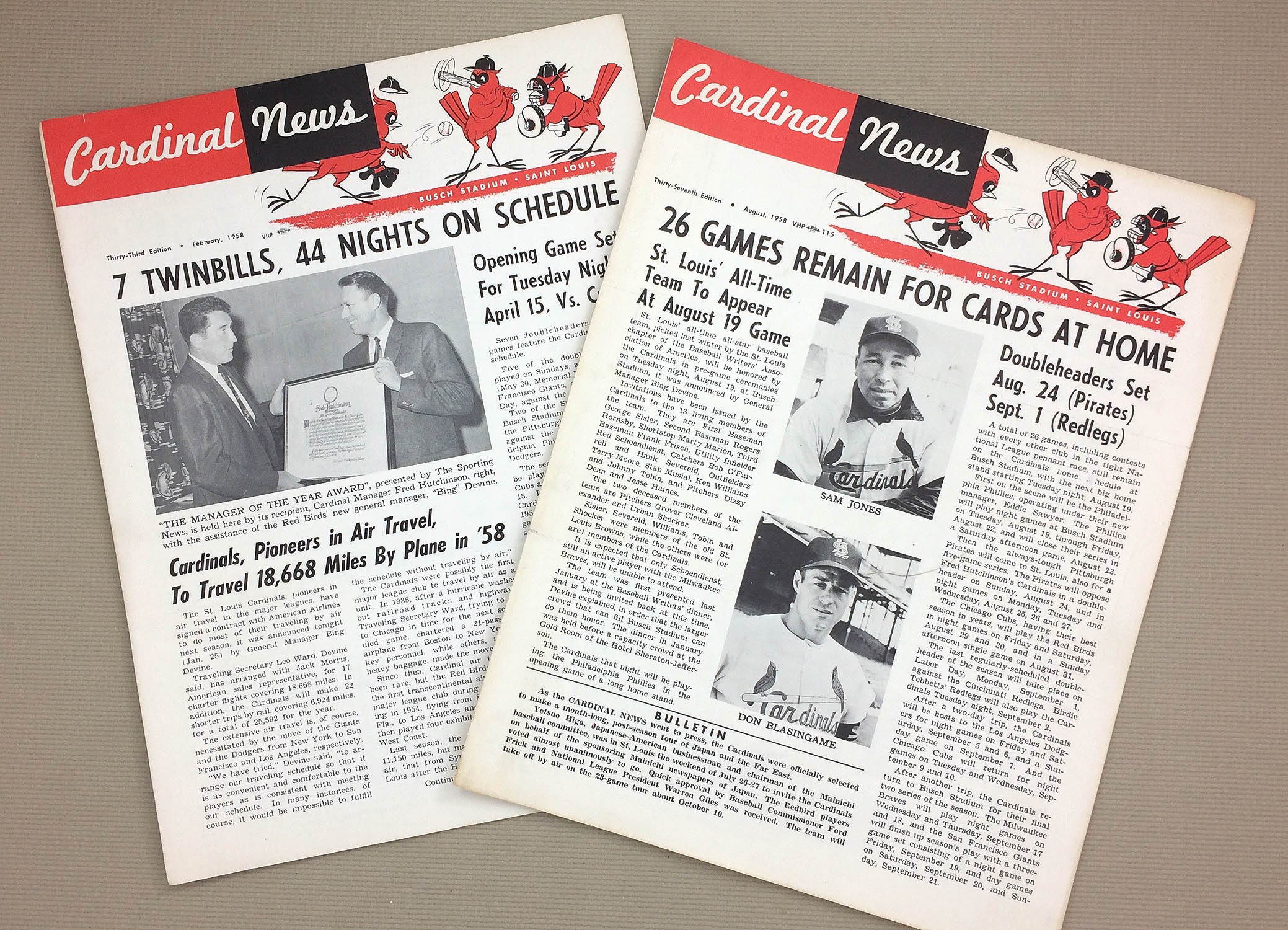 St Louis Cardinals Newsletters 1958