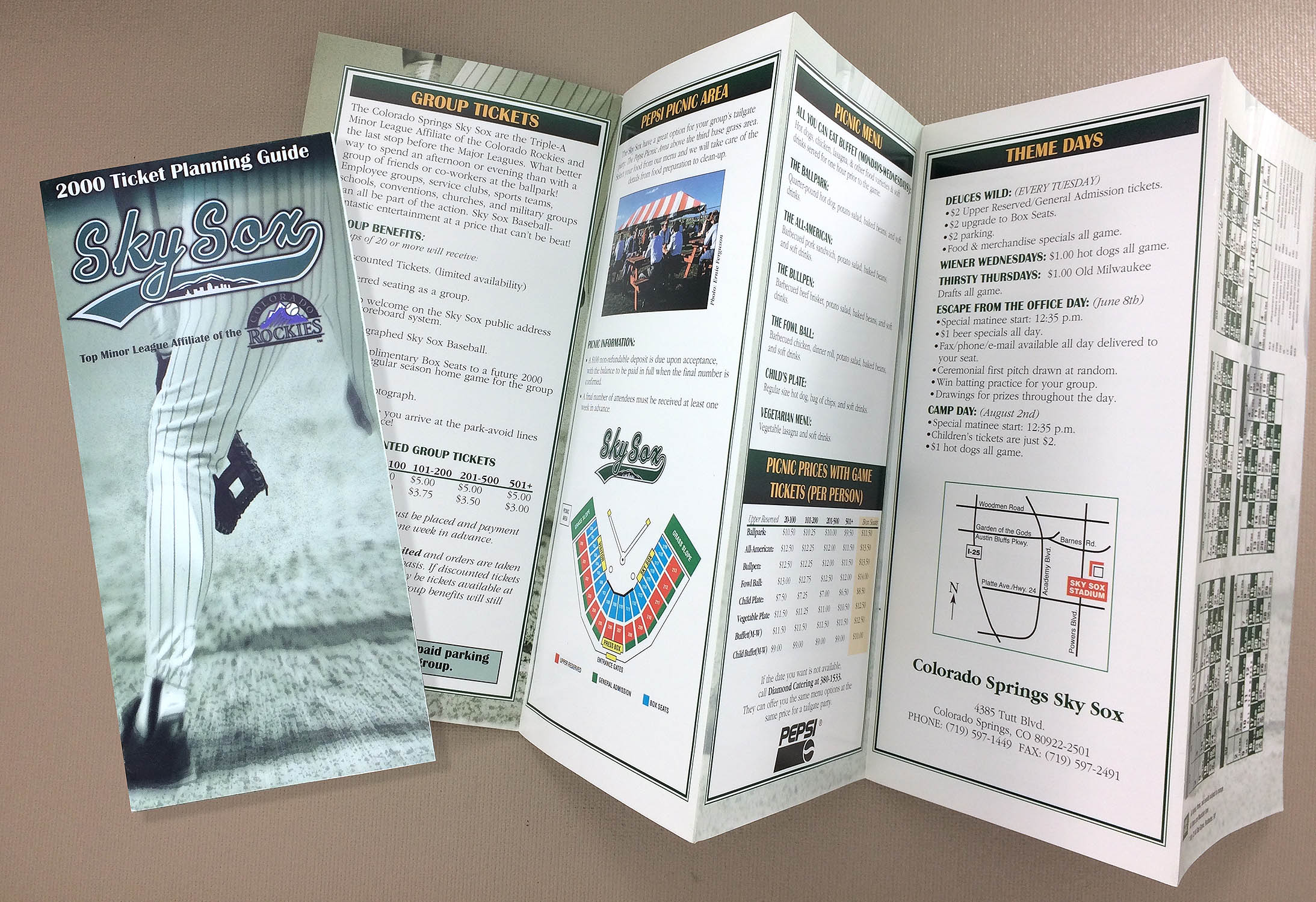 Sky Sox 2000 Ticket Brochure