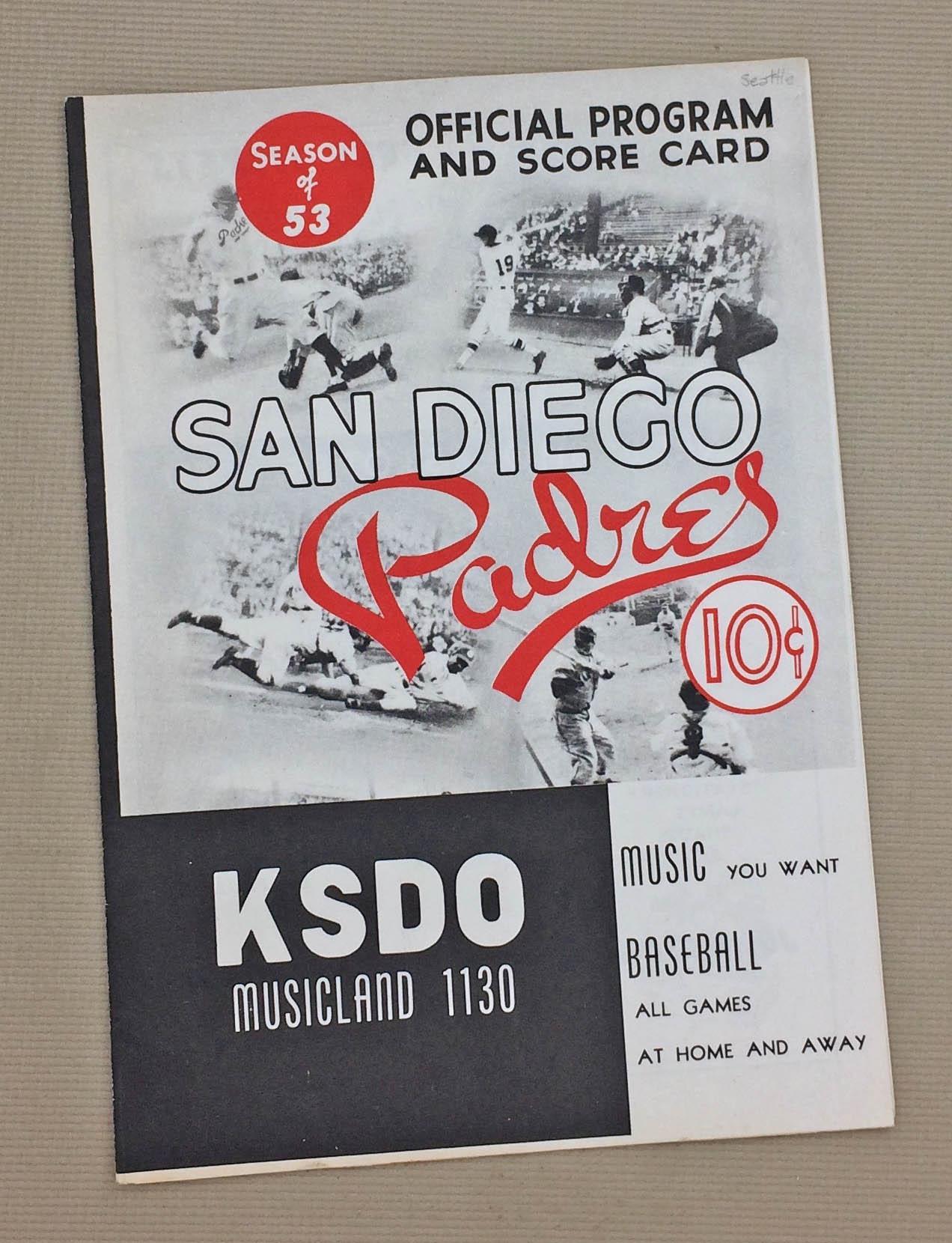 1953 San Diego Padres Program