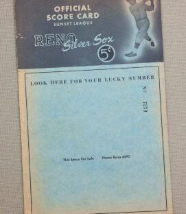 Reno Silver Sox 1947 Scorecard