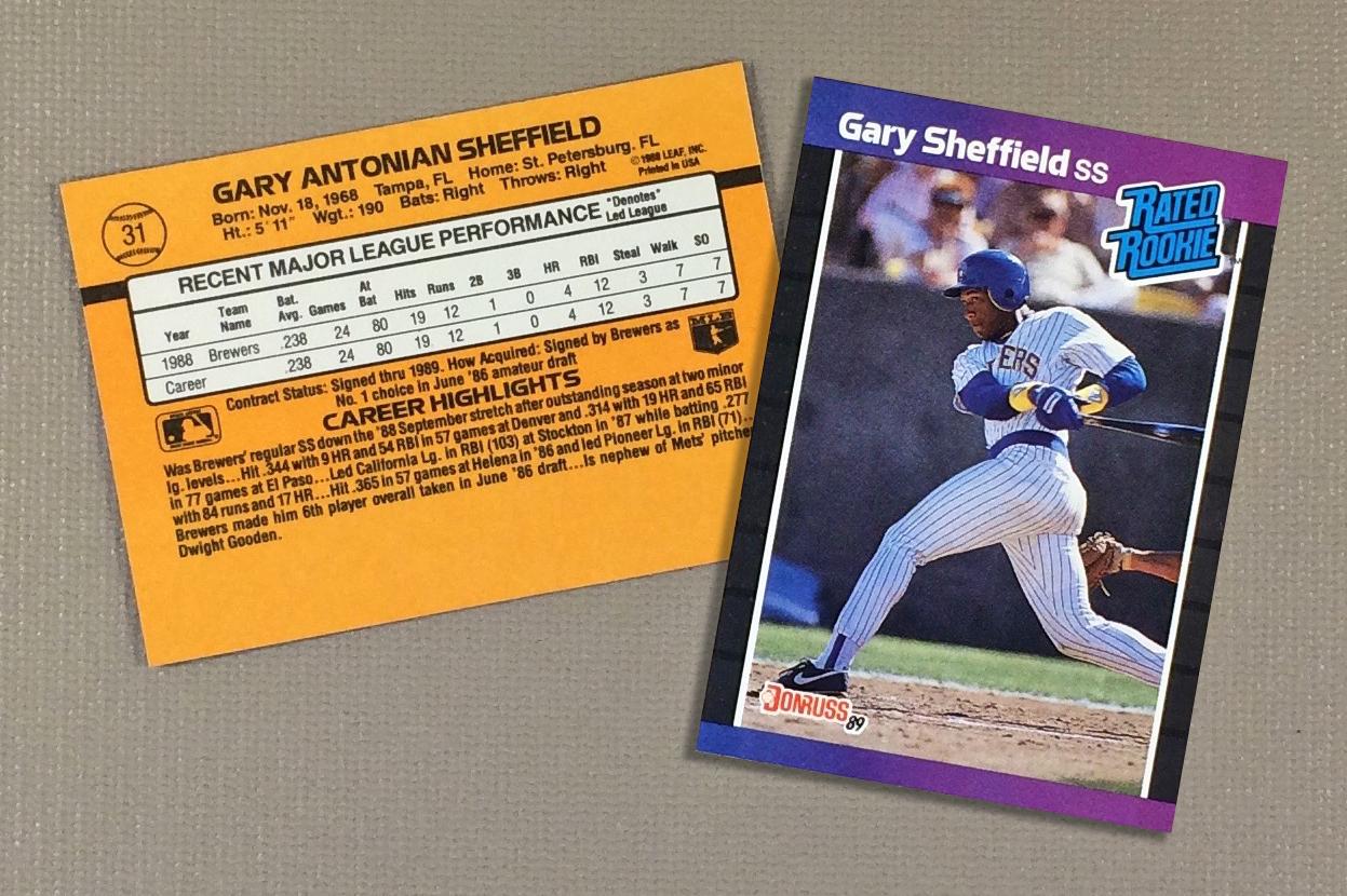 1989 Milwaukee Brewers Gary Sheffield Rookie Card (Donruss)