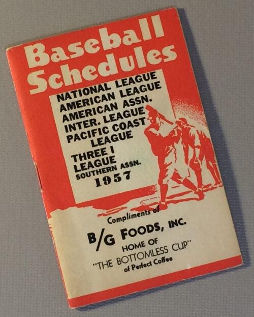 1957 Baseball Schedule