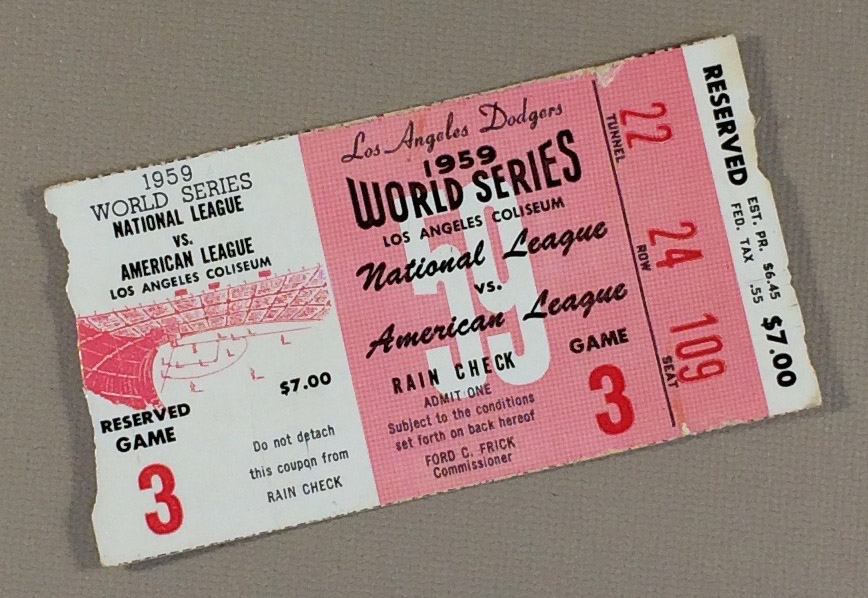 World Series 1959 Game 3 Ticket stub