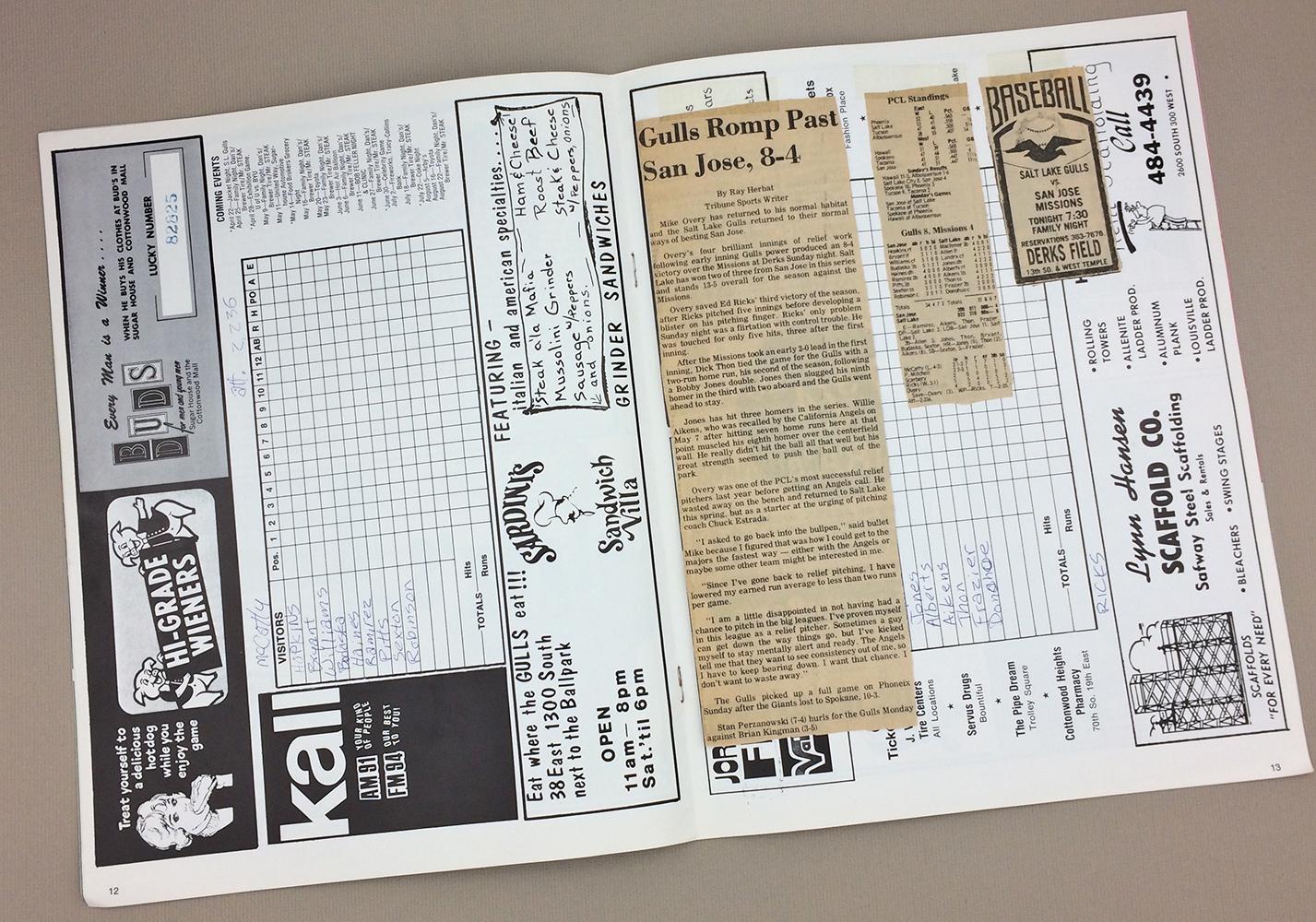 1977 Salk Lake Gulls Game Program