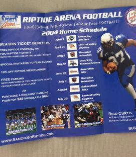 San Diego Riptide 2004 Ticket Brochure