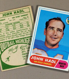 1968 San Diego Chargers John Hadl Collectors Card