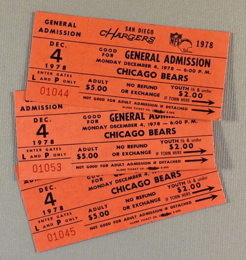 1978 San Diego Chargers MNF Ticket Stubs