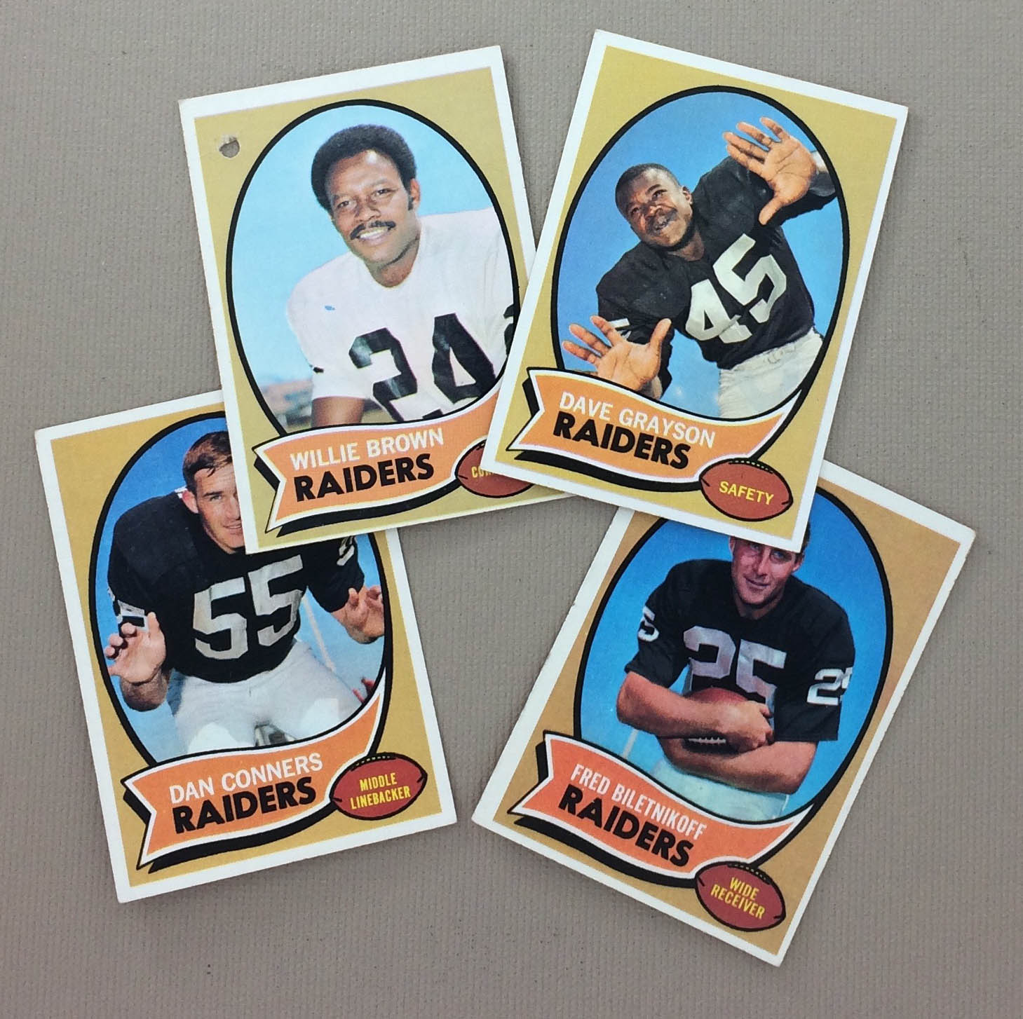 Oakland Raiders 1970 cards