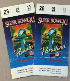1977 Super Bowl XI Ticket Stubs