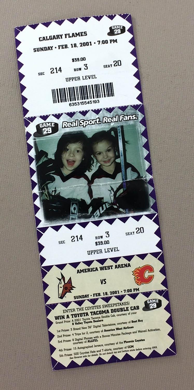 Phoenix Coyotes 2001 Ticket