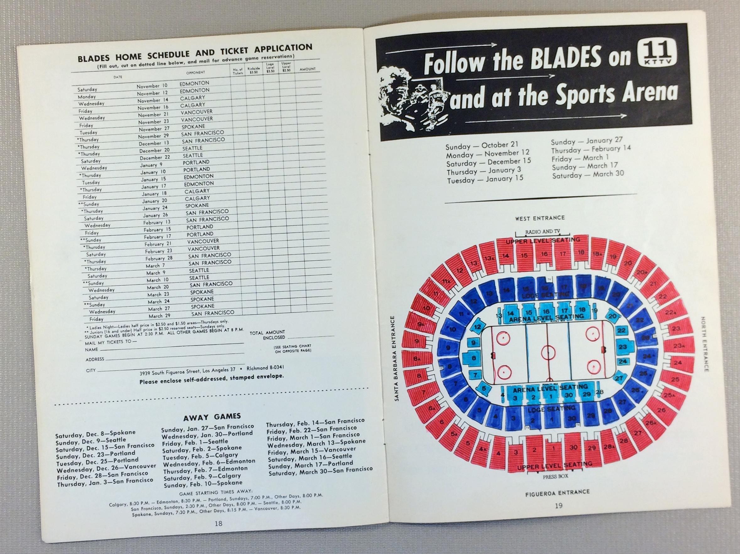 Los Angeles Blades 1962 Game Program