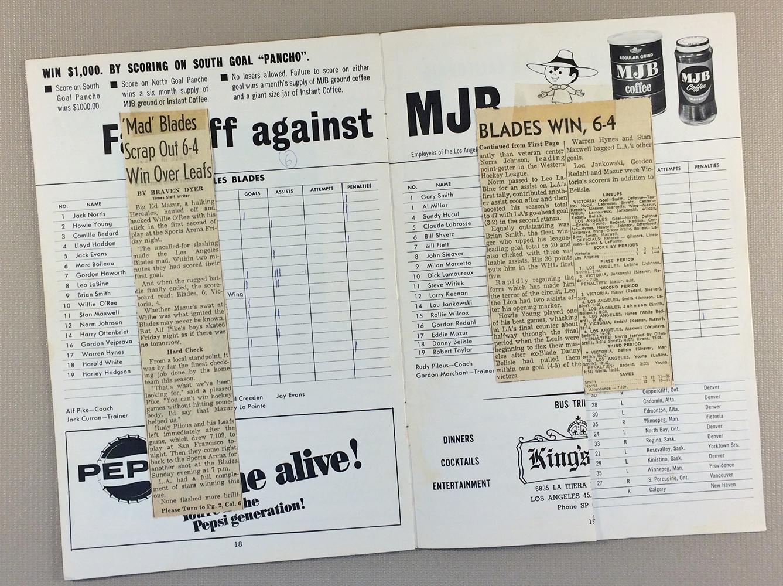 Los Angeles Blades 1960's Game Program
