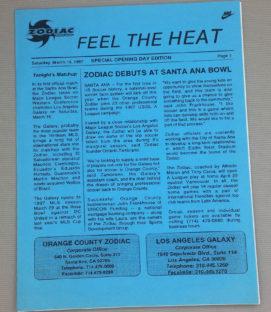 Orange County Zodiac Inaugural game Flyer