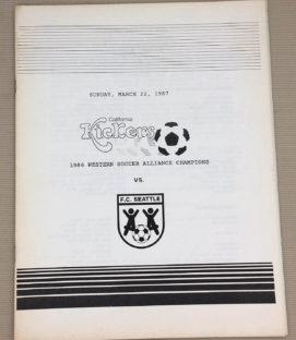 California kickers Seattle FC 1987 Program