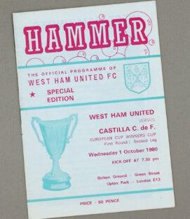 West Ham United vs Castilla C. de F. 1980 Program