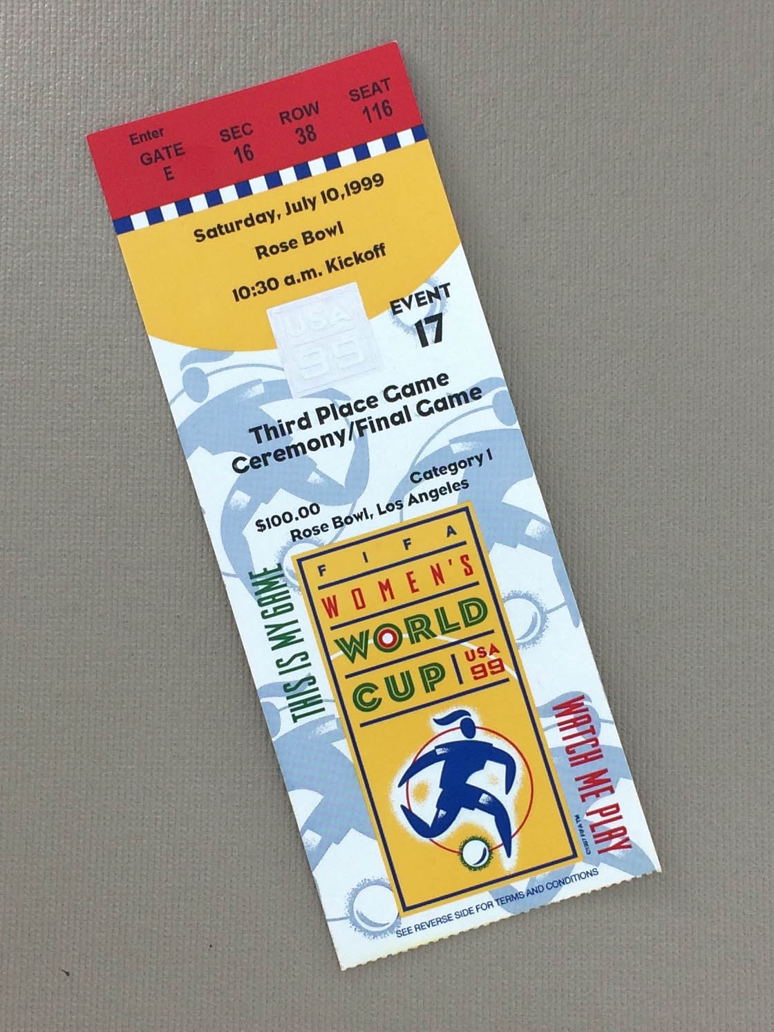 FIFA 1999 Women's World Cup Championship Game Ticket