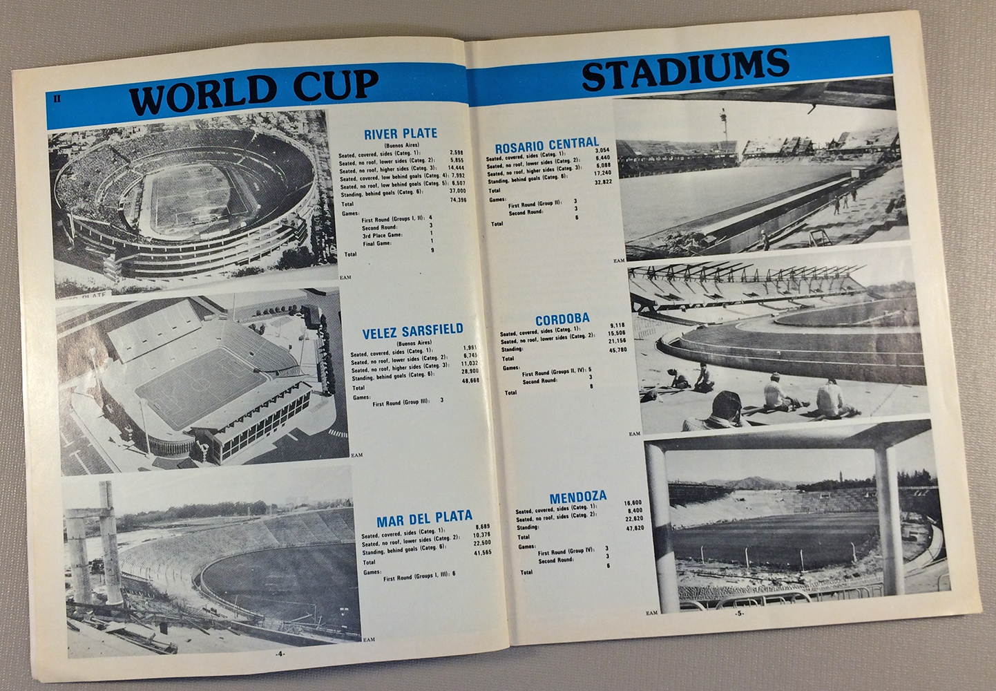 1978 World Cup Stadiums Argentina, River Plate, Mar Del Plata, Velez Sarsfield