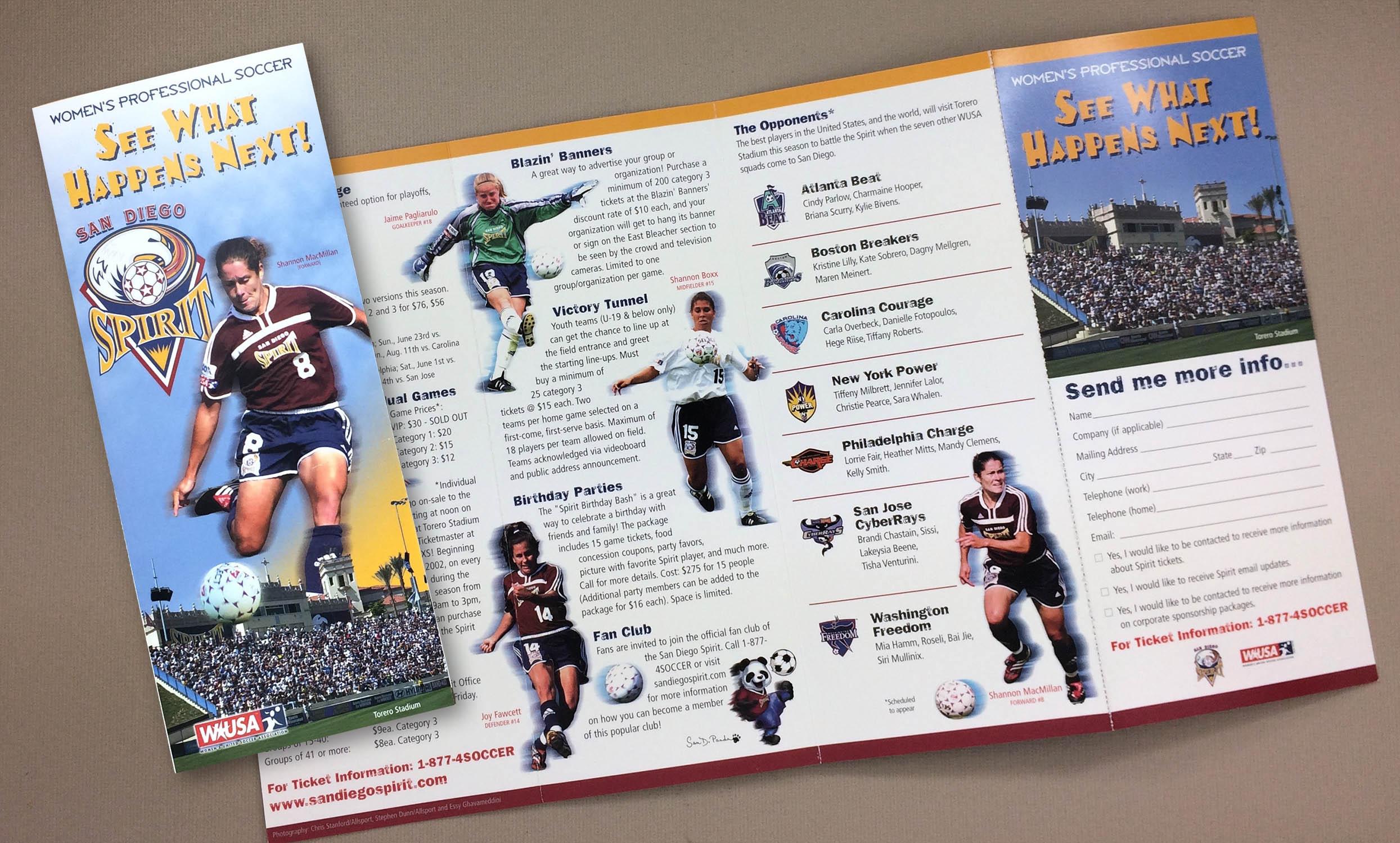 San Diego Spirit 2002 Ticket Brochure