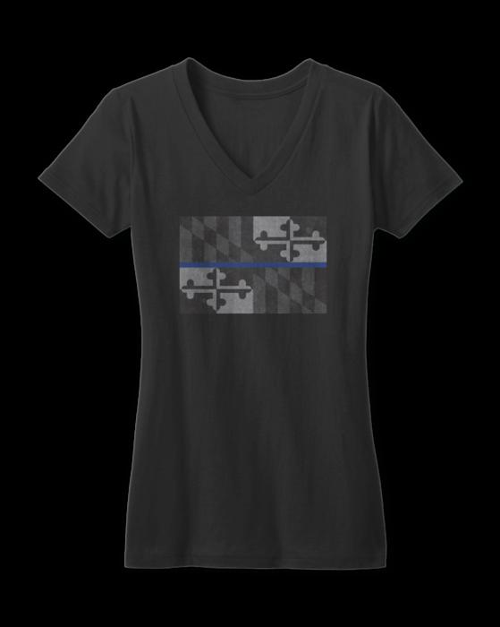 0aab8cb01 Maryland Flag Blue Line (Black) / Ladies Sporty V-Neck Shirt