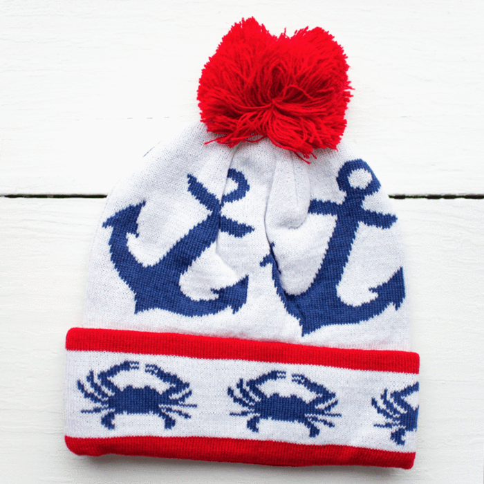 4db5a3f43ed Stripe Crab and Anchor Design (White with Red Pom)   Knit Beanie Cap