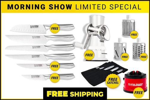 Worlds Best 6 Piece Knife Set FREE Santoku Knife PLUS FREE Sumo Slicer with 3 Interchangeable Drums + FREE Kleva Sharpener!