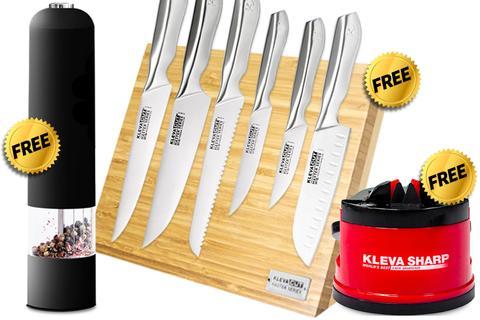 Worlds Best 6 Piece Knife Set FREE Magnetic Bamboo Knife Block + FREE Original Sharpener + FREE Pepper Grinder