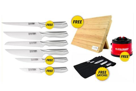 Worlds Best 6 Piece Knife Set FREE Fillet Knife PLUS FREE Magnetic Bamboo Knife Block + FREE Sharpener over $300 in FREE GIFTS