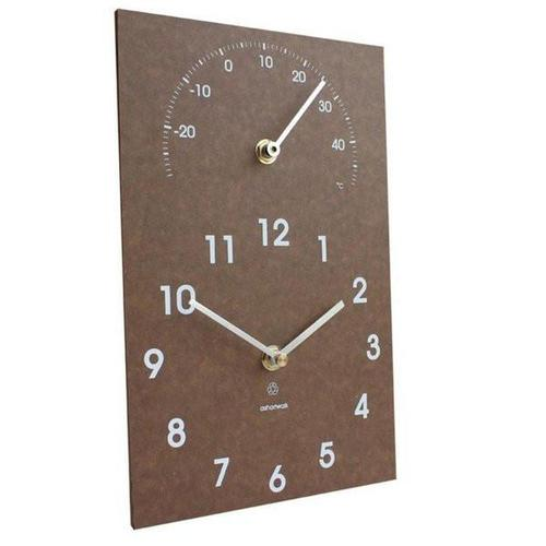 A SHORT WALK | ECO Clock & Thermometer - Outdoor/ Indoor - Brown
