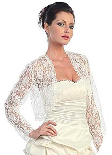 CLEARANCE - White Lace Bolero Jacket Long Sleeve (Size Medium)