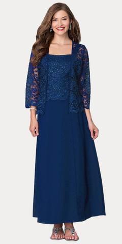 Long Chiffon Navy Blue Mother of Groom Dress 3/4 length Long Sleeve Jacket