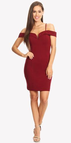 Off Shoulder Sweetheart Neckline Cocktail Dress with Spaghetti Strap Red