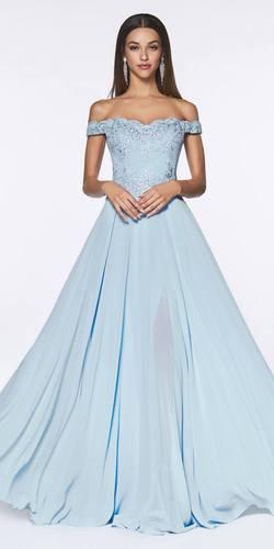 Cinderella Divine 7258 Off The Shoulder Long Chiffon Gown Smokey Blue