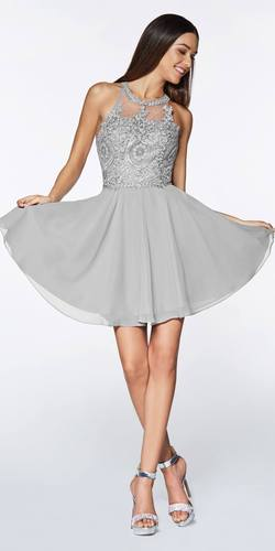 Short A-Line Dress Silver Chiffon Skirt Beaded Lace Halter Bodice