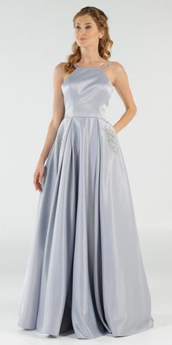 Baby Blue Long Satin Prom Dress Halter Spaghetti Strap with Pockets