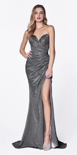 Strapless Ruched Glitter Sparkle Dress Charcoal Sweetheart Neckline Leg Slit