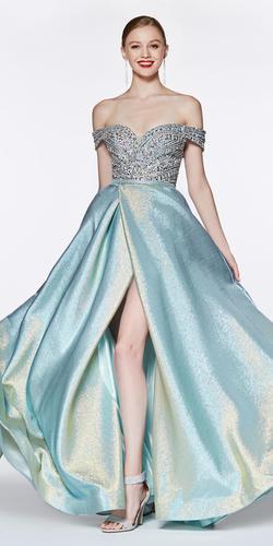 Off The Shoulder Ball Gown Metallic Aqua Beaded Sweetheart Bodice Slit Skirt