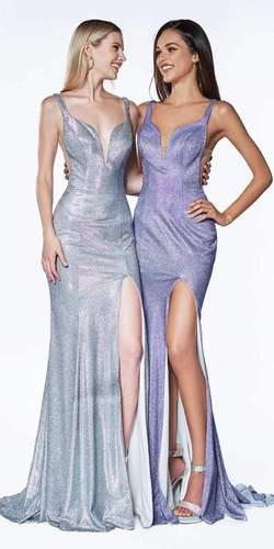 Long Fitted Metallic Glitter Prom Gown Silver Sweetheart Leg Slit